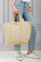 Load image into Gallery viewer, Cabas Grand Felt and Raffia Tote - Beige