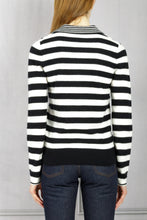 Load image into Gallery viewer, Striped Polo Knit Pullover - Black White