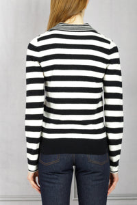 Striped Polo Knit Pullover - Black White