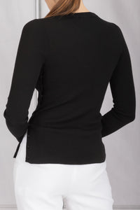 Iris Side Button Detail Sweater -  Black