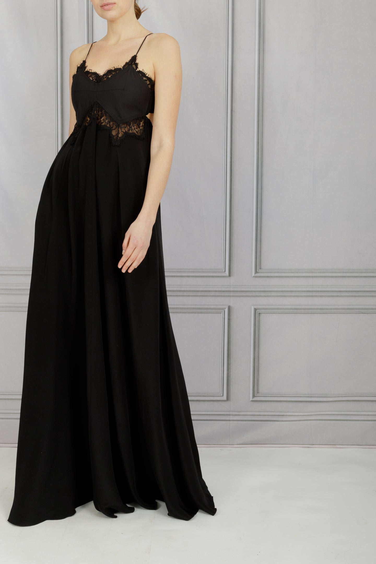 Open Back Lace Long Dress - Black