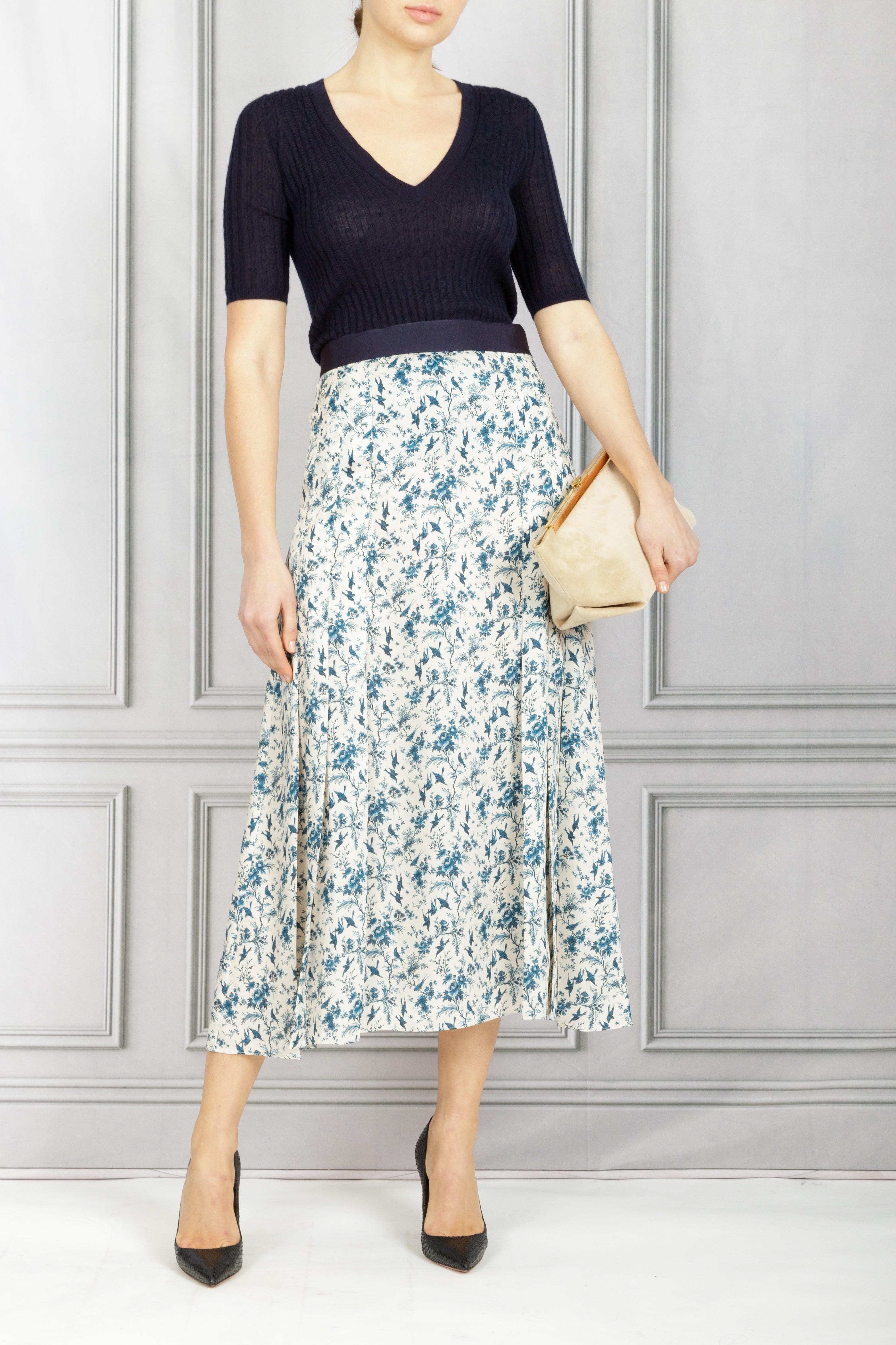 Pleat Detail Recycled Twill Midi Skirt - Toile de Jouy
