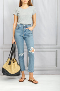 Riley High Rise Straight Crop Ripped Jean - Whiplash