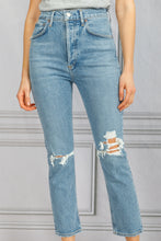 Load image into Gallery viewer, Riley High Rise Straight Crop Ripped Jean - Whiplash