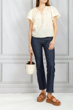 Load image into Gallery viewer, Flutter Sleeve Embroidered Top - Creme
