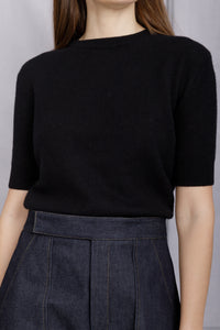 Dianna Crewneck Knit Tee - Black