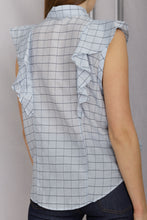 Load image into Gallery viewer, Check Voile Sleeveless Shirt - Cielo