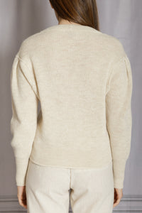 Puff Sleeve Pullover Sweater - Natural