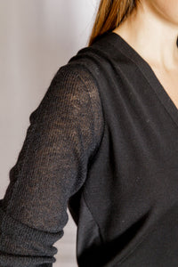 Mixed Texture Cardigan - Black