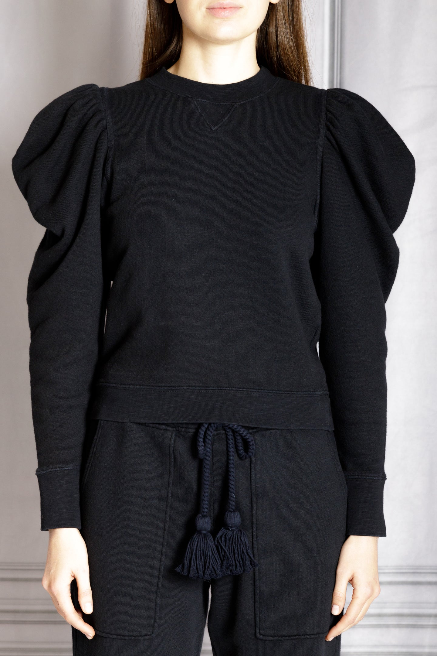 Alair Puff Sleeve Pullover - Onyx