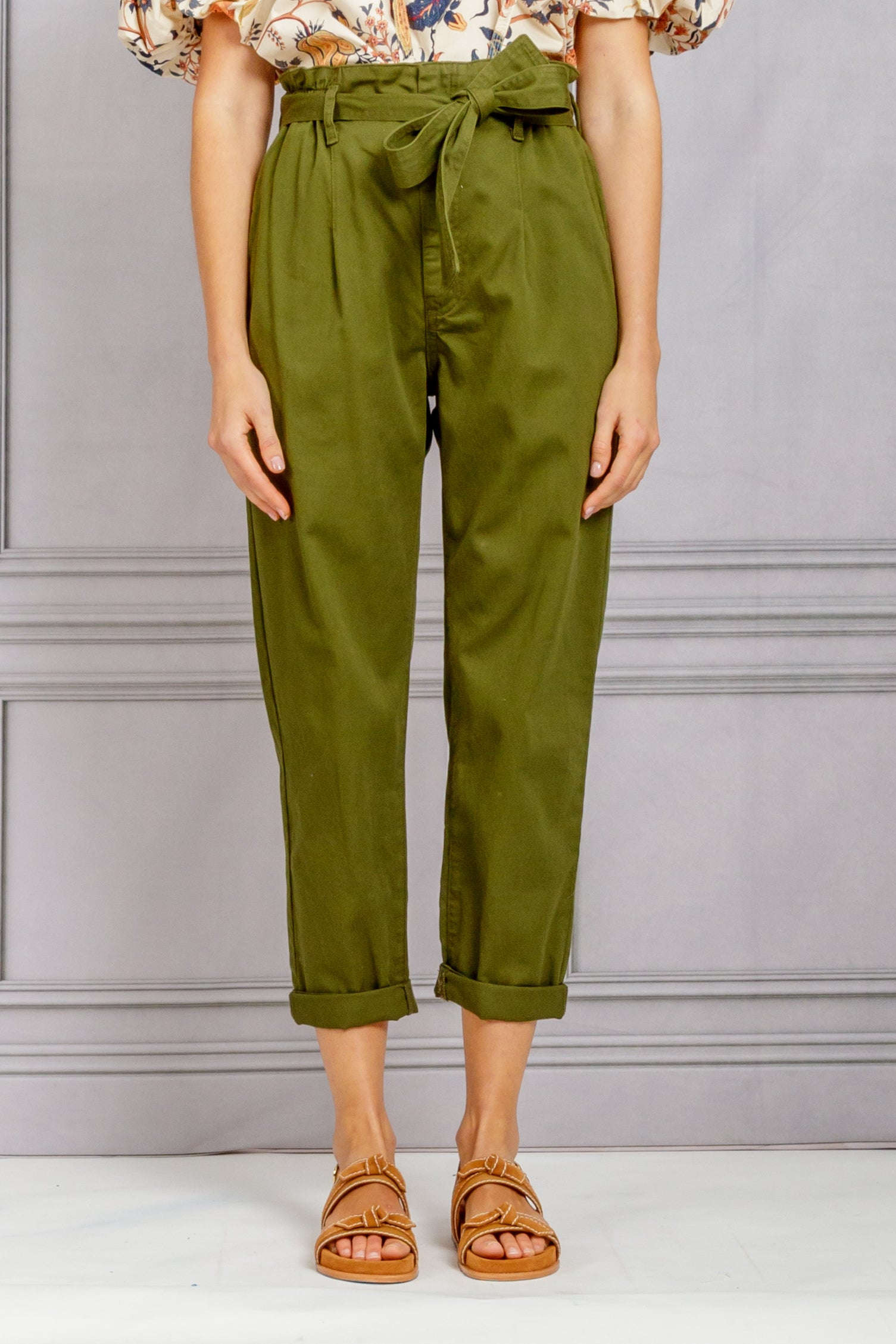 Tyrese Paperbag Waist Pant - Olive