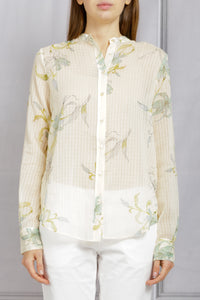 Gelsomina Printed Button Down Shirt - Ivory