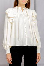 Load image into Gallery viewer, Tabitha Ruffle Detail Blouse - Blanc
