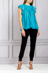 Ruffle Sleeve Flared Voile Top - Topazio