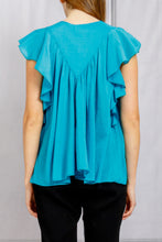 Load image into Gallery viewer, Ruffle Sleeve Flared Voile Top - Topazio
