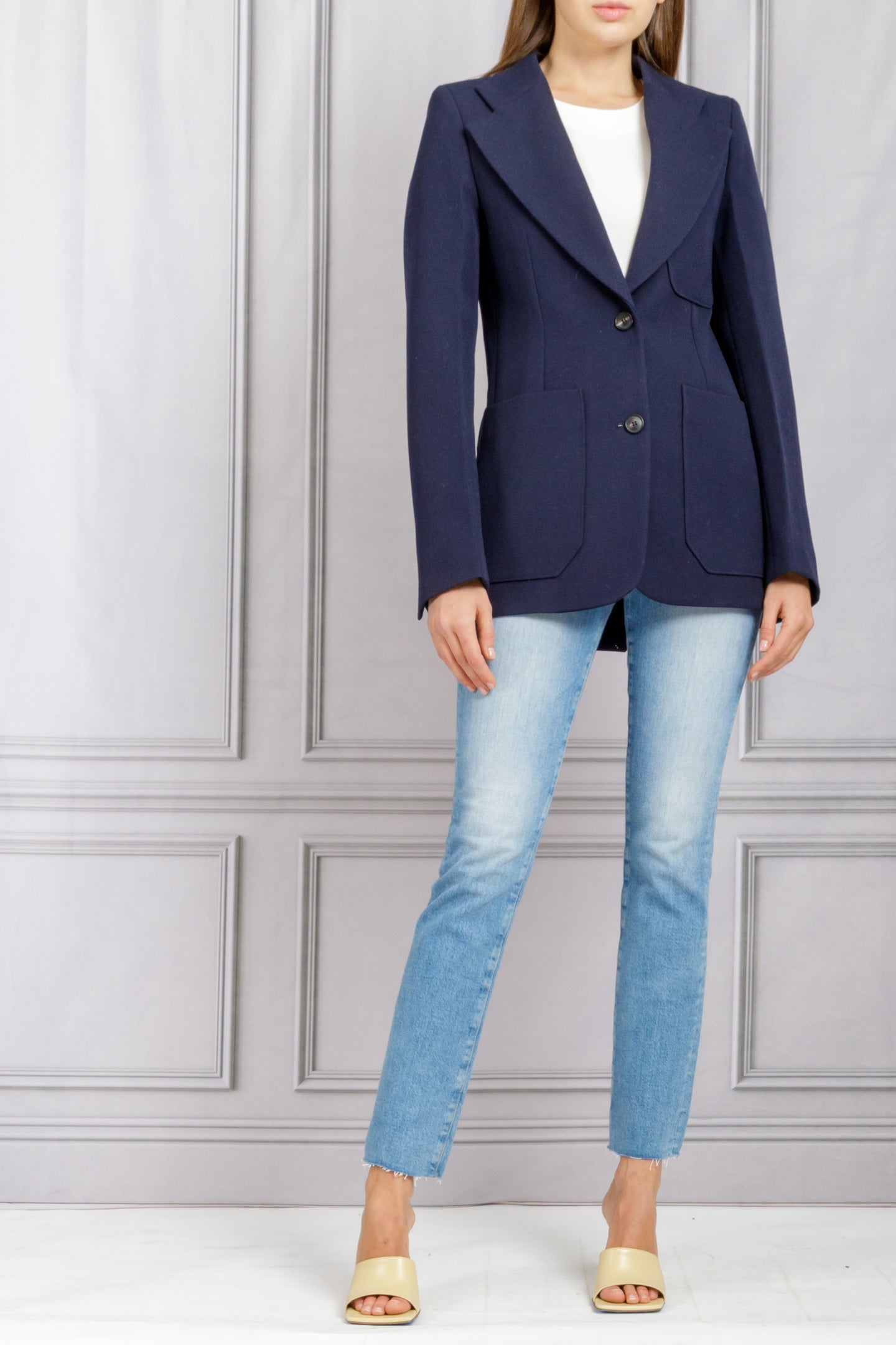 Patch Pocket Detail Blazer - Dark Navy