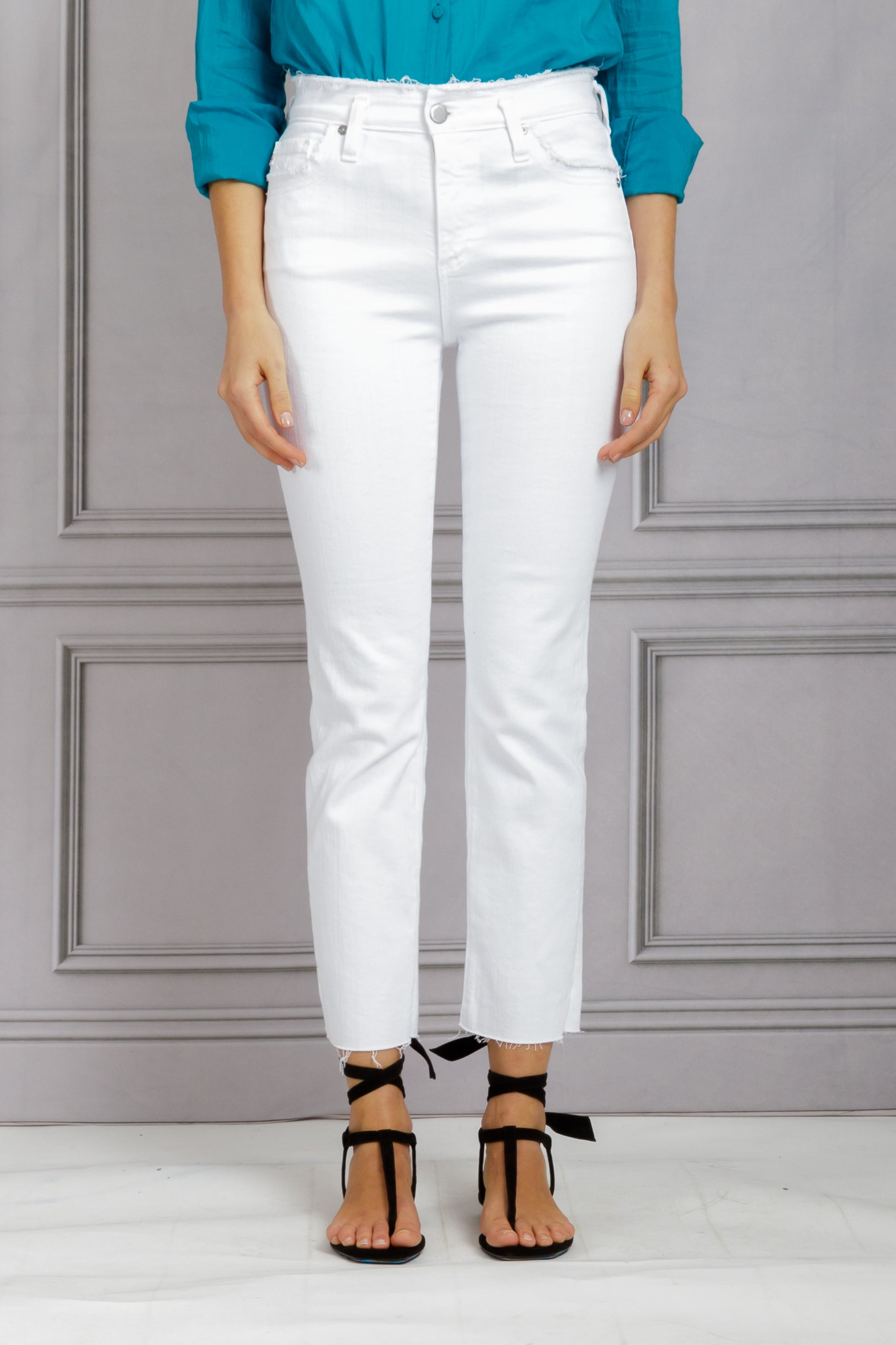 The Isabelle High Rise Straight Crop - Straight White