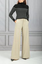 Load image into Gallery viewer, Molly Stripe Turtleneck Sweater - Black Ivory Stripe