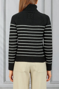 Molly Stripe Turtleneck Sweater - Black Ivory Stripe