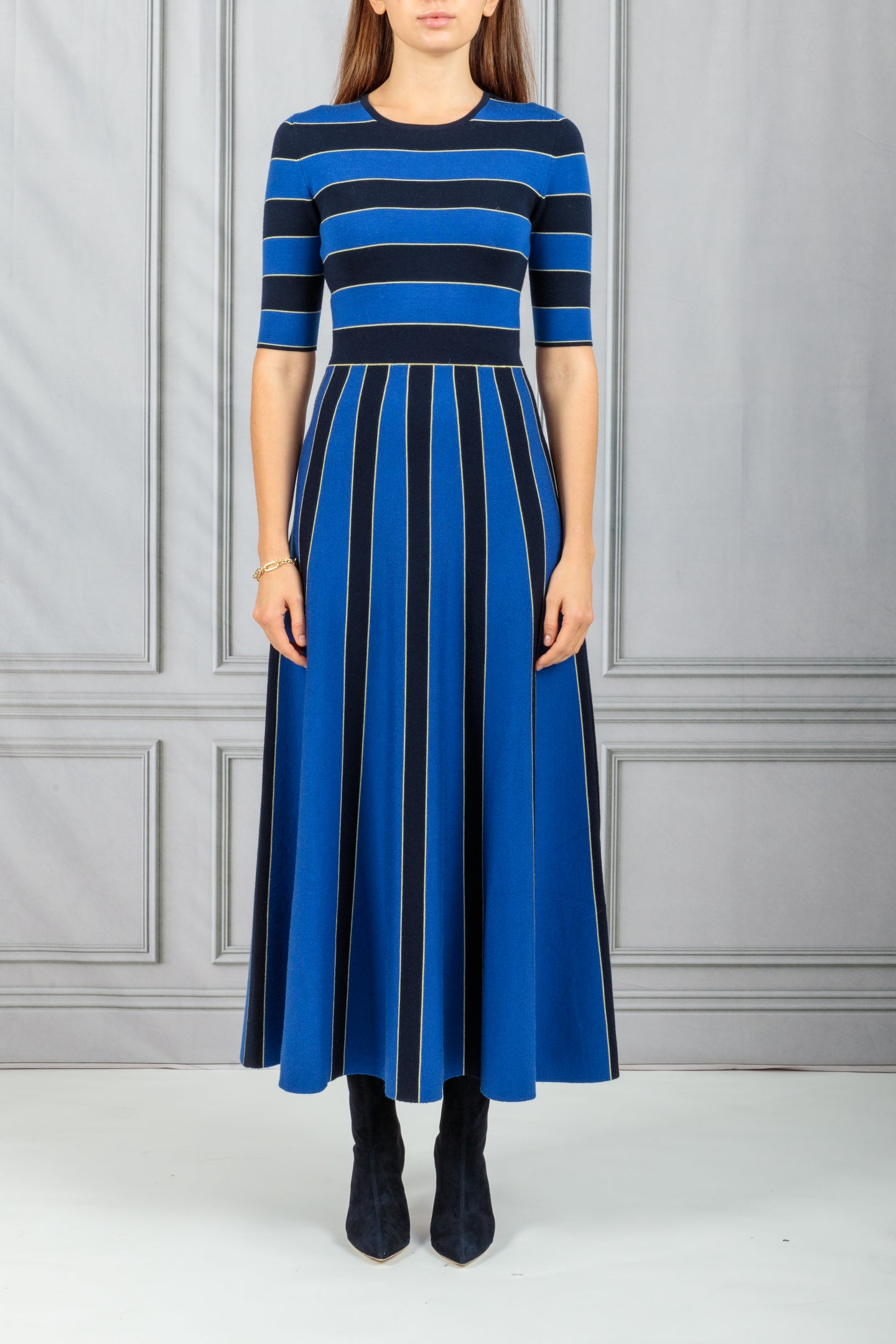 Capote Waisted Flare Knit Dress - Navy with Cobalt Blue Stripe