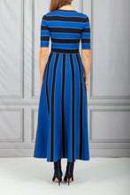 Load image into Gallery viewer, Capote Waisted Flare Knit Dress - Navy with Cobalt Blue Stripe