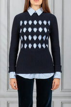 Load image into Gallery viewer, Cut Out Argyle Jumper - Navy