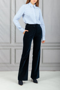 Highwaisted Velvet Trouser - Navy
