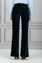 Load image into Gallery viewer, Highwaisted Velvet Trouser - Navy