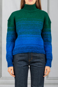 Cropped Ombre Pullover - Emerald