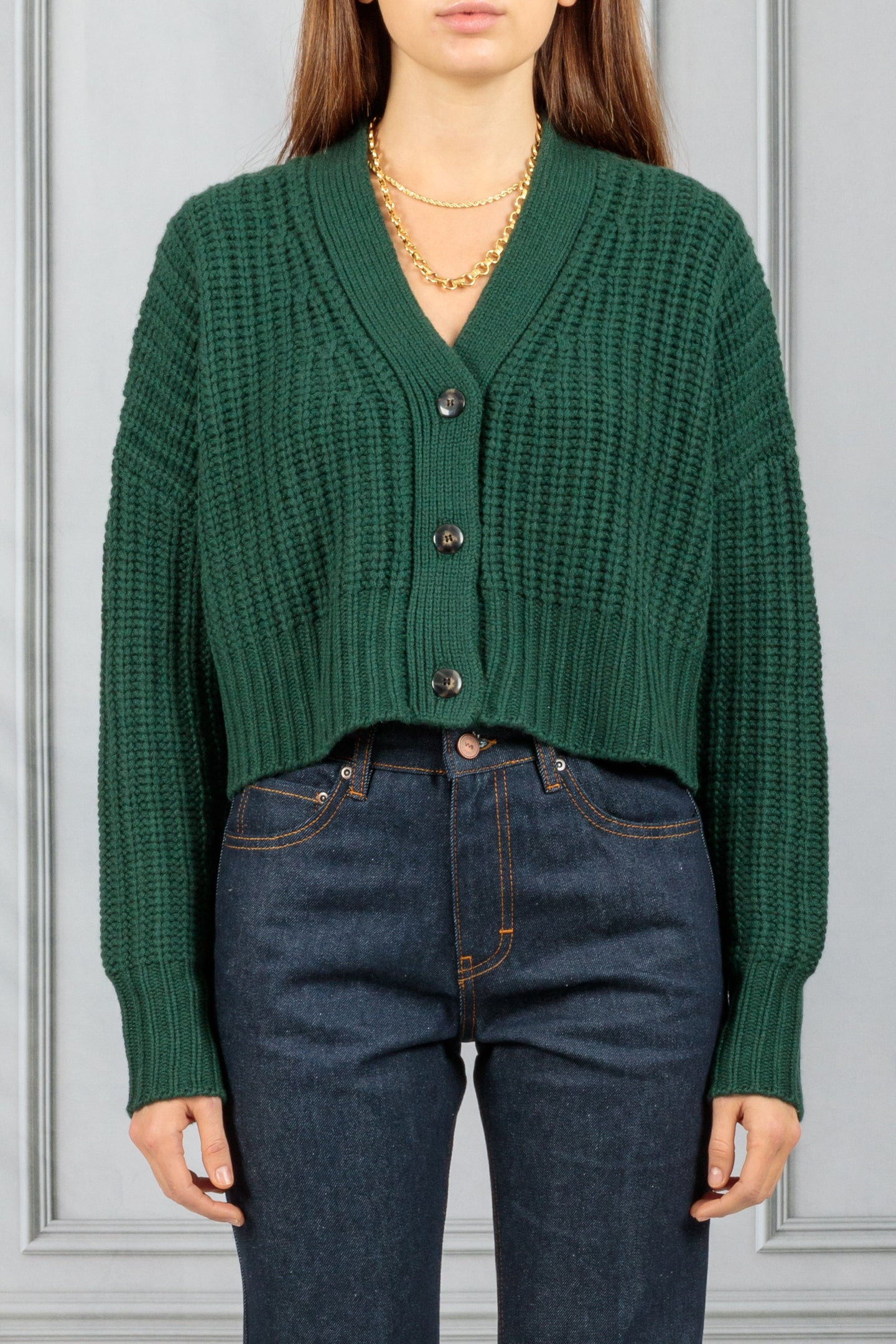 Preston Cropped Cable Cardigan - Hunter Green