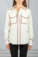 Load image into Gallery viewer, Contract Piping Button Down Shirt - White