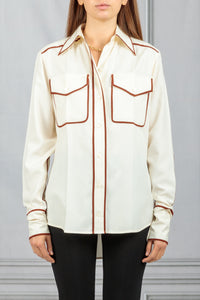 Contract Piping Button Down Shirt - White
