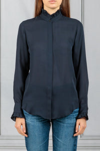 Aleia Ruffle Trim Sheer Blouse - Dark Navy