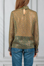 Load image into Gallery viewer, Pretty High Neck Sheer Printed Blouse - Bronze