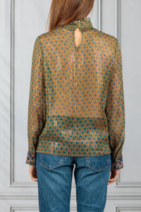 Pretty High Neck Sheer Printed Blouse - Bronze