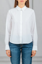 Load image into Gallery viewer, Erin Ruffle Trim Flare Button Down Shirt - White