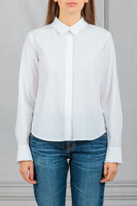 Erin Ruffle Trim Flare Button Down Shirt - White