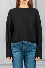 Load image into Gallery viewer, Nathan Ribbed Boxy Pullover - Black