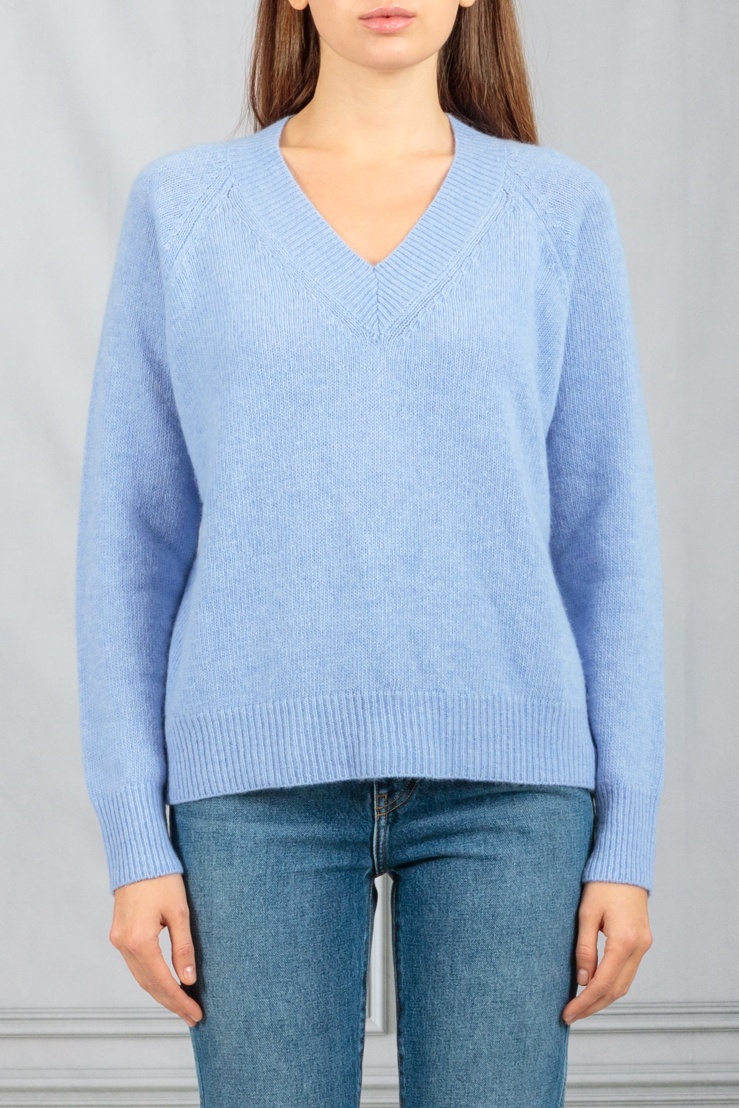 V Neck Pullover Sweater - Indaco