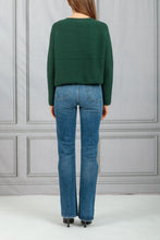 Load image into Gallery viewer, Thea Cropped Tie Neck Knit Pullover - Hunter Green