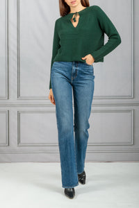 Thea Cropped Tie Neck Knit Pullover - Hunter Green
