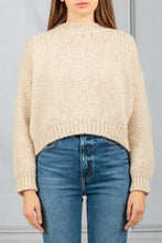 Load image into Gallery viewer, Boxy Open Knit Pullover Sweater - Beige