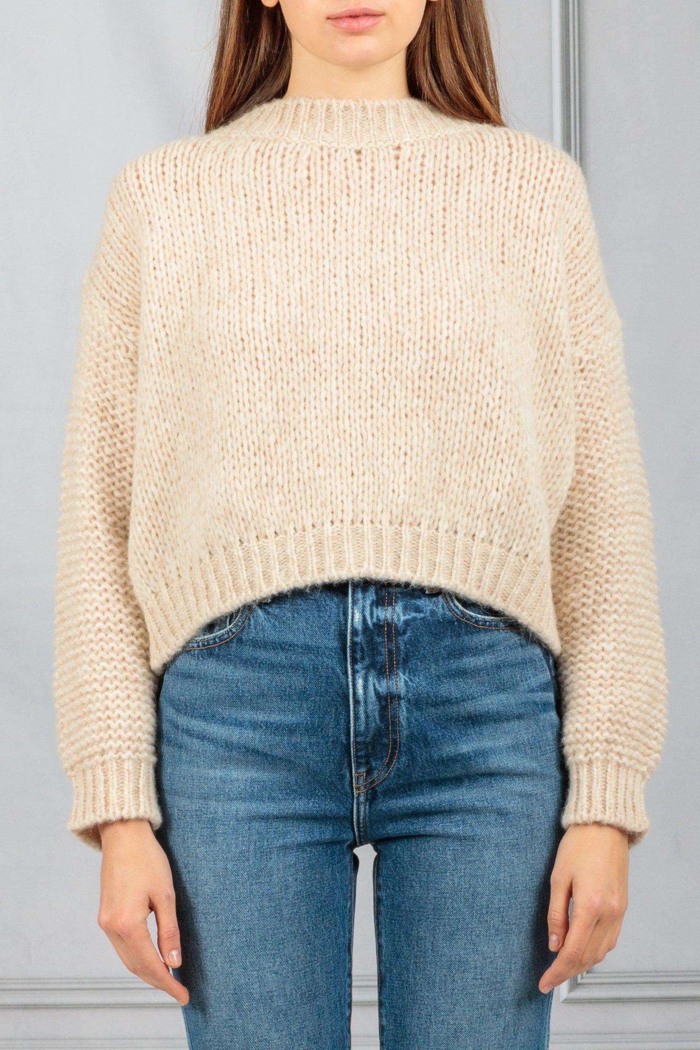 Boxy Open Knit Pullover Sweater - Beige
