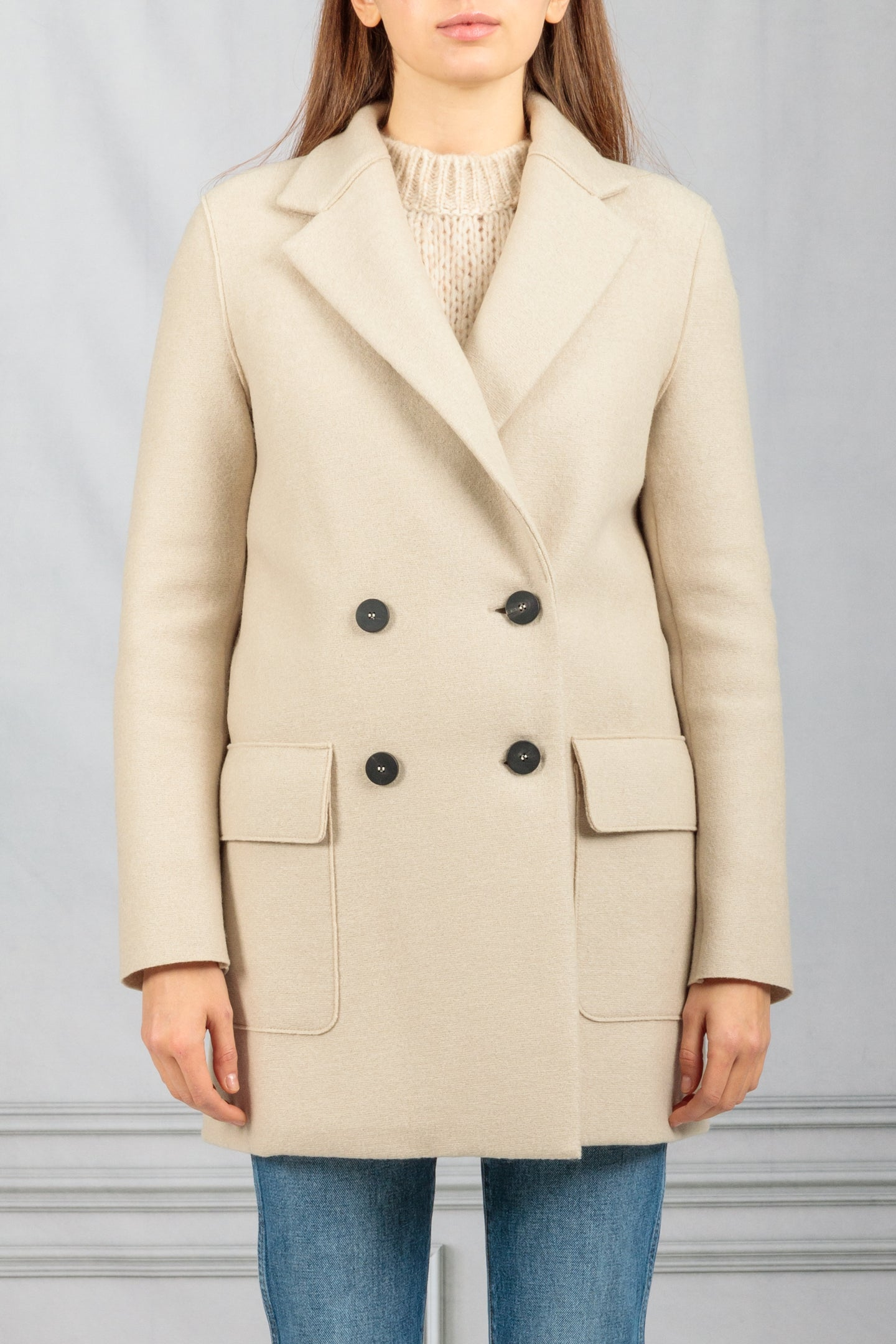 Double Breasted Belted Coat - Almond