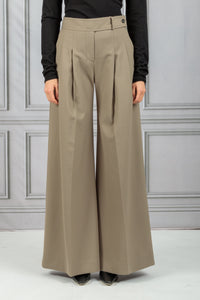 Front Pleat Wide Leg Trouser - Clay