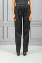 Load image into Gallery viewer, Moretta Front Pleat Tapered Stripe Pant - Black