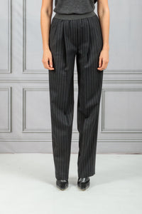 Moretta Front Pleat Tapered Stripe Pant - Black