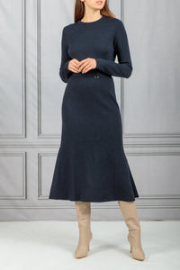 Belted Fit and Flare Knit Dress - Navy Black