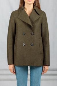 Double Breasted Peacoat - Moss Green