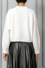 Load image into Gallery viewer, Maca Cropped Ribbed Pullover Sweater - White